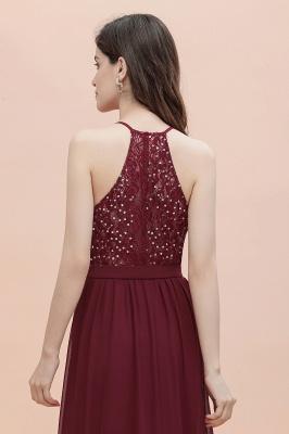 Burgundy Sleeveless V-neck Beaded Back Chiffon Bridesmaid Dress_10