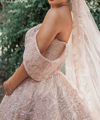 Gorgeous Satin Nude Pink Sequins Ball Gown Wedding Dresses With Long Sleeves_3