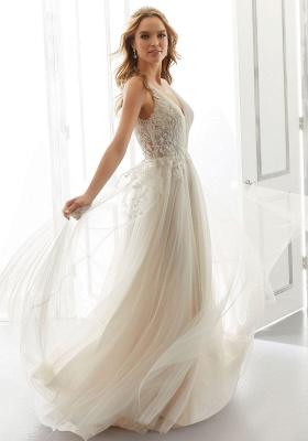 Elegant Sleeveless Tulle Satin A-Line Wedding Dresses With Lace Appliques_1