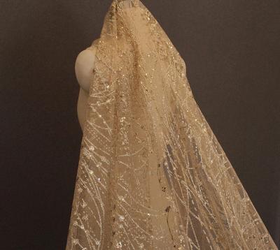 Tulle BlingBling Cut Edge 3*3M Wedding Veils_5