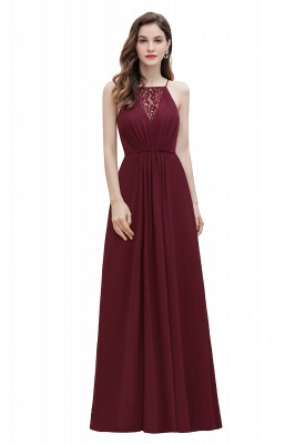 Straps Bateau A-line Sequins Evening Maxi Dress Elegant Chiffon Prom Dress_1