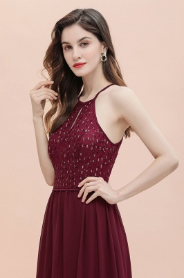 Halter Sequins A-line Evening Dress Chiffon Elegant Party Maxi Dress_8