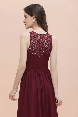V-Neck A-line Chiffon Evening Maxi Dress Sleeveless Bridesmaid Wedding Guest Dress_11
