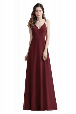 Elegant V-Neck Chiffon Evening Prom Dress for Women Straps Formal Maxi Dress_1