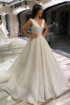 Beautiful Long A-line V-neck Sleeveless Lace-up Wedding Dress