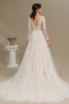 Graceful Long Sleeves Tulle V Neck Wedding Dresses With Lace Appliques_12