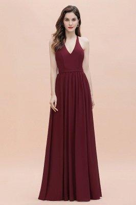 Burgundy Sleeveless V-neck Beaded Back Chiffon Bridesmaid Dress_4