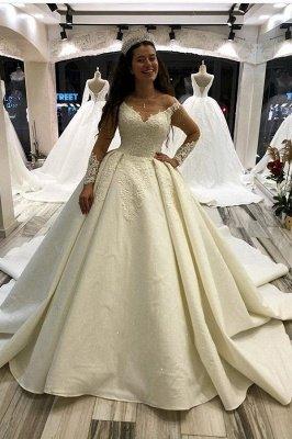 Gorgeous Long Princess Satin Sweetheart Wedding Dress with Sleeves