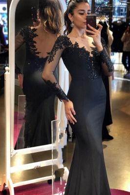 Vintage Black Mermaid Long Sleeves V-neck Satin Open Back Prom Dress
