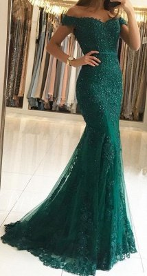 Vintage Long Off-the-shoulder Mermaid Tulle Lace Prom Dress with Appliques Lace