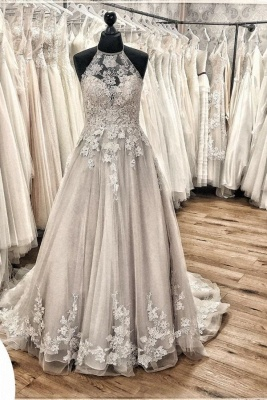 Elegant Long A-line Halter Tulle Open Back Wedding Dress with Appliques Lace