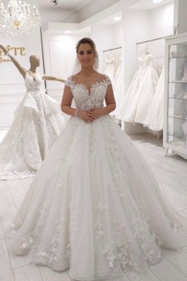 Gorgeous Long A-line Off-the-shoulder Lace Tulle Wedding Dress
