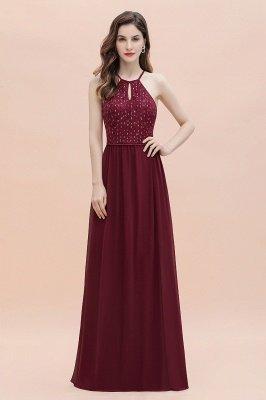 Halter Sequins A-line Evening Dress Chiffon Elegant Party Maxi Dress_4