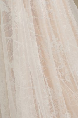 Graceful Long Sleeves Tulle V Neck Wedding Dresses With Lace Appliques_9