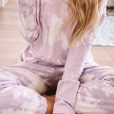 Women's Jewel Long Sleeves Light Purple Pajamas Tie-dyed_5