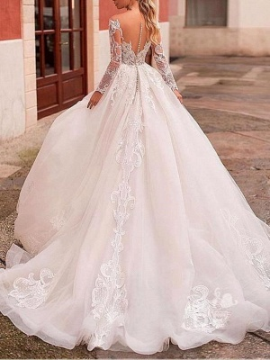 Glamorous Ball Gown Tulle Lace Wedding Dress with Long Sleeves_2