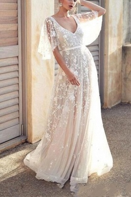 Chic A-Line V-Neck Tulle Lace Wedding Dress with Sleeves_1
