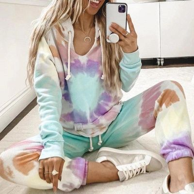 Women's Long Sleeves Tie-dyed Pajamas Cotton