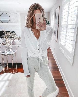 Comfortable Light Grey V Neck Pajamas Long Sleeves_3