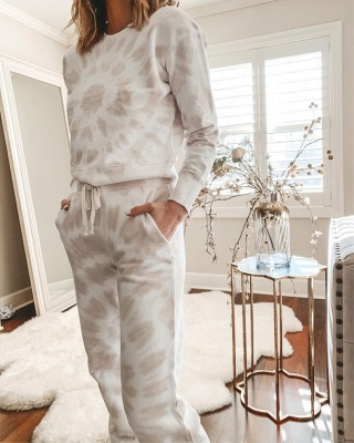 Women White Tie-dyed Pajamas Long Sleeves_2