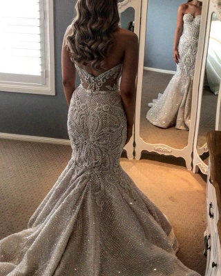 Glamorous Mermaid Strapless Tulle Lace Beadings Wedding Dress with Overskirt_2