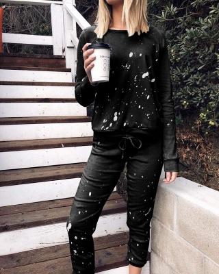 Women Fashion Long Sleeves Black Pajamas Cotton_5