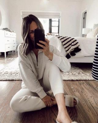 Women White Long Sleeves Pajamas V Neck_3