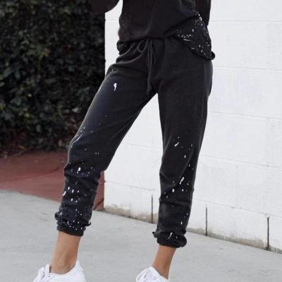 Women Fashion Long Sleeves Black Pajamas Cotton_2