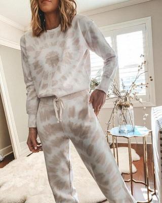 Women White Tie-dyed Pajamas Long Sleeves_6