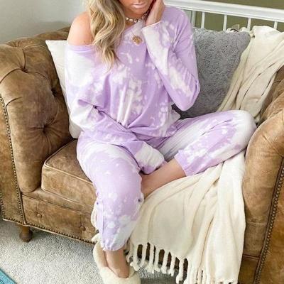 Women's Jewel Long Sleeves Light Purple Pajamas Tie-dyed_3