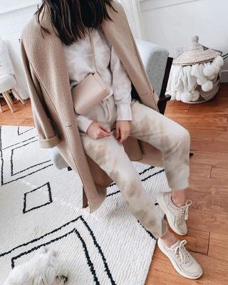 Women White Tie-dyed Pajamas Long Sleeves_7