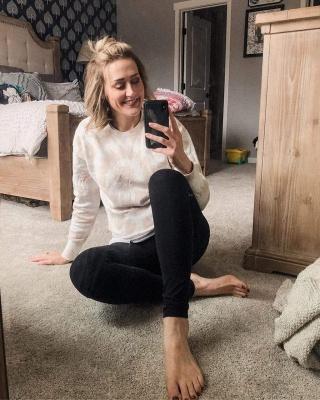 Women White Tie-dyed Pajamas Long Sleeves_8
