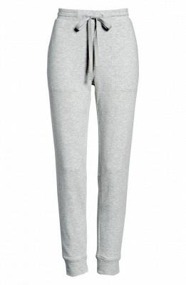Comfortable Light Grey V Neck Pajamas Long Sleeves_4