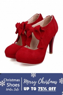 SD1261 Bow Tie Hollow Stiletto Heel Boots Women's Shoes On Sale_1