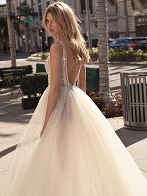 Sexy A-Line V-Neck Sleeveless Tulle Slit Wedding Dress with Beadings_2