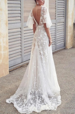 Chic A-Line V-Neck Tulle Lace Wedding Dress with Sleeves_2