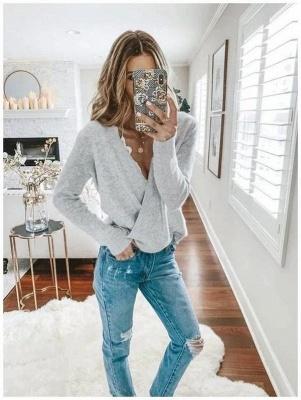 Comfortable Light Grey V Neck Pajamas Long Sleeves_2