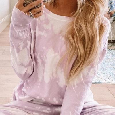 Women's Jewel Long Sleeves Light Purple Pajamas Tie-dyed_4