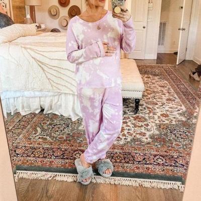 Women's Jewel Long Sleeves Light Purple Pajamas Tie-dyed_2