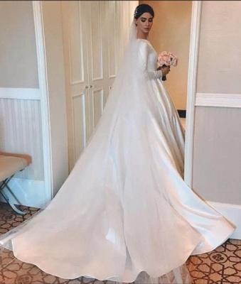 Elegant A-Line Jewel Satin Long Sleeves Wedding Dress_2