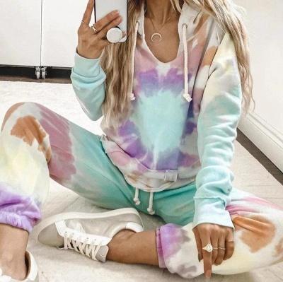 Women's Long Sleeves Tie-dyed Pajamas Cotton_4