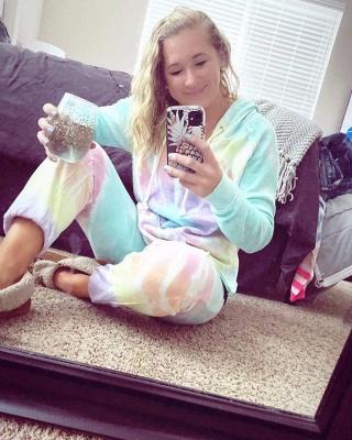 Women's Long Sleeves Tie-dyed Pajamas Cotton_6