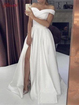 Sexy Off-Shoulder Satin A-Line Front Slit Wedding Dress_2