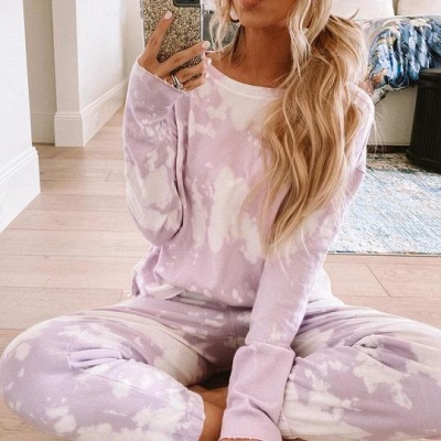 Women's Jewel Long Sleeves Light Purple Pajamas Tie-dyed