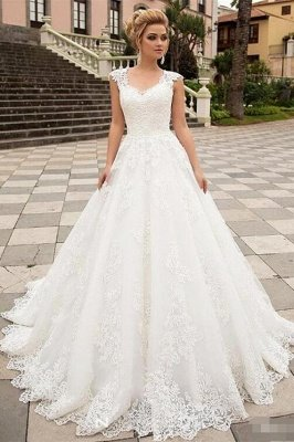 Chic A-Line Tulle Lace Sleeveless Wedding Dress with Brush Train_1