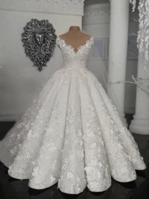 Glamorous Ball Gown Wedding Dresses | Off-the-Shoulder Floral Beading Bridal Gowns  BC0708_1