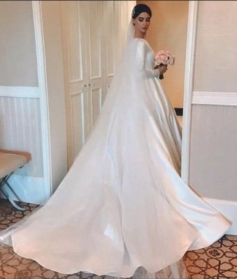 Elegant A-Line Jewel Satin Long Sleeves Wedding Dress_2