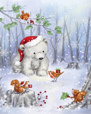 Paint By Numbers Kit-Polar Bear In Wood_2