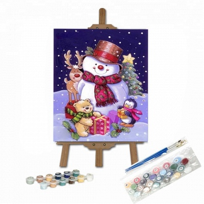 Paint By Numbers Kit-Christmas Snowman_1