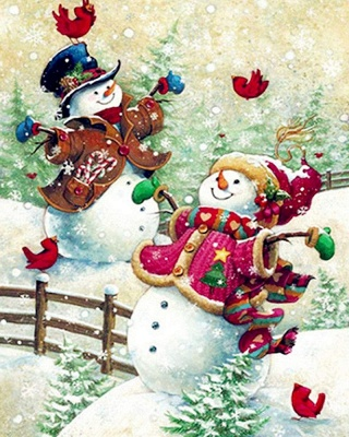 Paint By Numbers Kit-Happy Snowman_2